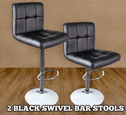 Enjoyable High Quality Adjustable Height Black Padded Bar Stools Set Of 2 Gamerscity Chair Design For Home Gamerscityorg