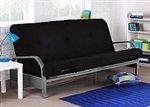 Metal Futon Sofa Bed Couch with Black Full Size Mattress