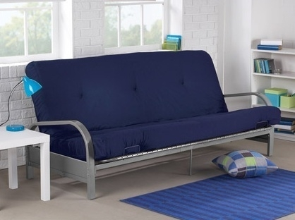 Brand New Metal Futon Sofa Bed Couch With Blue Full Size