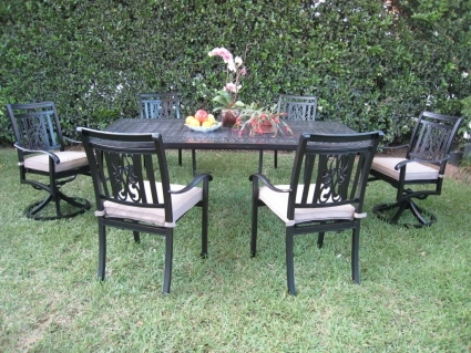 Pleasing 7Pc Black Cast Aluminum Outdoor Patio Furniture Dining Set With 2 Swivel Chairs Ncnpc Chair Design For Home Ncnpcorg