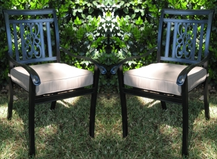 Aluminum patio furniture Hampton Bay English Gardens 2pc Black Bronze Cast Aluminum Outdoor Patio Furniture Chair Set