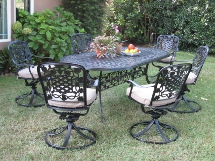 Surprising 7Pc Black Bronze Cast Aluminum Outdoor Patio Furniture Dining Set With 6 Swivel Chairs Ncnpc Chair Design For Home Ncnpcorg