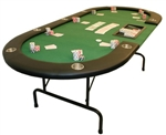 Folding Green Leather Texas Holdem Poker Table With 10 Seat And Trays