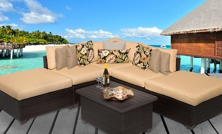 Cabana 6 Piece Outdoor Wicker Patio Furniture Set