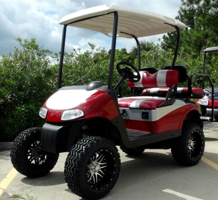 Ezgo 48 Volt Rxv Red Silver Golf Cart 2 Tone Seats 6 Quot Lift