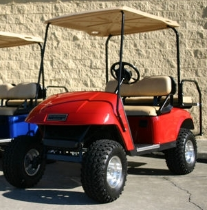 ez go lifted red 36 volt electric golf cart. Black Bedroom Furniture Sets. Home Design Ideas
