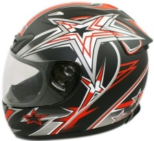 Adult Full Face Red Star Motorcycle Helmet (DOT Approved)