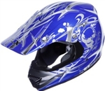 Adult Blue Skull Motocross Helmet (DOT Approved)