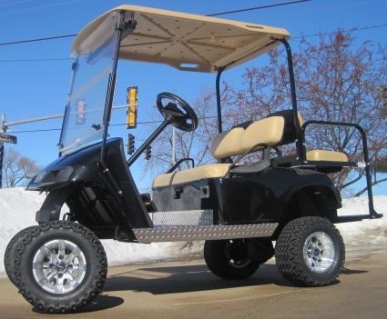 ez go lifted black 36 volt electric golf cart. Black Bedroom Furniture Sets. Home Design Ideas