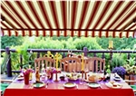 High Quality Multistripe Red 13' x 10' Retractable Patio Awning Canopy