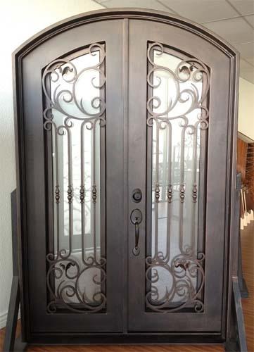61 5 X 96 Eyebrow Arch Top Wrought Iron Entry Double Door Unit