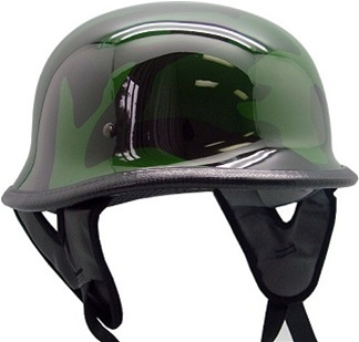 German Army Camo Motorcycle Cruiser Half Helmet (DOT Approved)