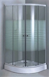 Aluminum Frame Shower Enclosure Set with Privacy Glass & Base