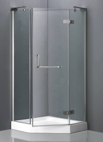 Aluminum Frame Neo Angle Shower Enclosure W Hinged Door