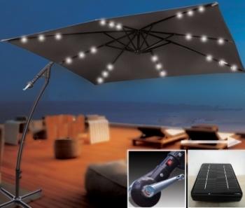 brand new 8 39 x 8 39 cantilever patio umbrella w 24 solar powered led lighting. Black Bedroom Furniture Sets. Home Design Ideas