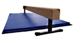 "High Quality Tan 8' x 12"" Balance Beam with Blue 6' Folding Mat"