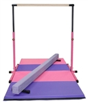 High Quality 3'-5' Pink Adjustable Bar with 8' Purple Beam and 8' Folding Mat