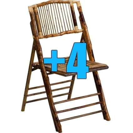 High quality package of 4 bamboo design folding chairs for Good quality folding chairs