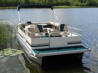 19 ft fishing crusing pontoon boat w 23 tubes front for Fishing pontoon boat reviews
