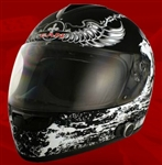 Adult Crusader Black Full Face Motorcycle Helmet with Bluetooth (DOT Approved)