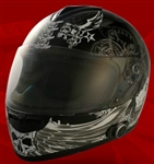 Adult Dark Angel Black Full Face Motorcycle Helmet with Bluetooth (DOT Approved)