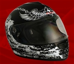 Adult Crusader Black Full Face Motorcycle Helmet (DOT Approved)