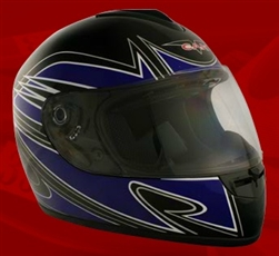Adult Spartan Blue Full Face Motorcycle Helmet (DOT Approved)