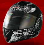 Adult Crusader Black Flip Up Motorcycle Helmet with Bluetooth (DOT Approved)