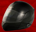 Adult Glossy Black Flip Up Motorcycle Helmet with Bluetooth (DOT Approved)