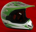 Youth Green Glossy Motocross Helmet (DOT Approved)