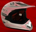 Youth Pink Glossy Motocross Helmet (DOT Approved)