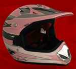 Youth Pink Matte Motocross Helmet (DOT Approved)