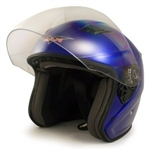 Adult Blue Metro Open Face Motorcycle Helmet (DOT Approved)