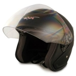 Adult Glossy Black Metro Open Face Motorcycle Helmet (DOT Approved)