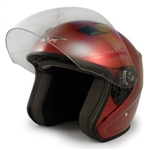 Adult Red Metro Open Face Motorcycle Helmet (DOT Approved)