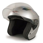 Adult Silver Metro Open Face Motorcycle Helmet (DOT Approved)