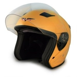 Adult Yellow Metro Open Face Motorcycle Helmet (DOT Approved)