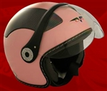 Adult Pink Open Face Motorcycle Helmet (DOT Approved)