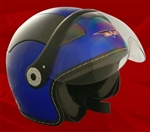 Adult Royal Blue Open Face Motorcycle Helmet (DOT Approved)