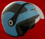 Adult Sky Blue Open Face Motorcycle Helmet (DOT Approved)