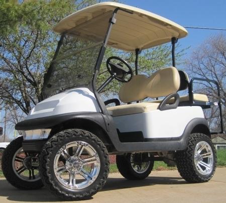 48v White Club Car Precedent Lifted Electric Golf Cart