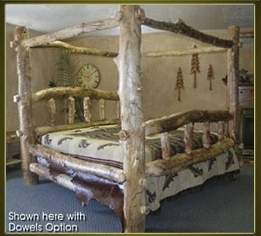 Brand New Classic Rustic Furniture Aspen Log Canopy Bed