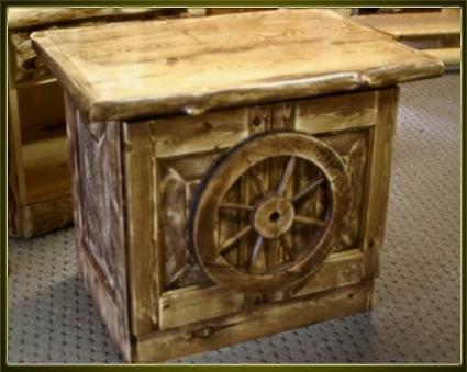 Brand New Rustic Furniture Wagon Wheel End Table Nightstand Tv