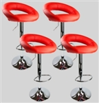 4 Swivel Seat Red  Leather Modern Adjustable Hydraulic Bar Stool
