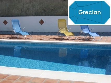 Complete 16\'x32\' Grecian In Ground Swimming Pool Kit with Wood Supports
