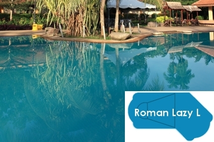 Complete 18\'x45\' Roman Lazy L InGround Swimming Pool Kit with Wood Supports