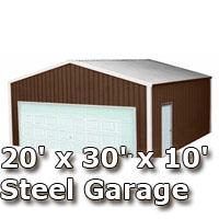 20 X 30 X 10 Steel Metal Enclosed Building Garage