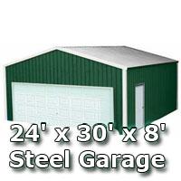 24 39 x 30 39 x 8 39 steel metal enclosed building garage for 24 x 30 shop plans