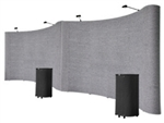 20' Gray Portable Pop Up Trade Show Booth Display Kit With Spotlights