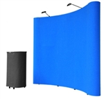 8' Blue Portable Pop Up Trade Show Booth Display Kit w/ Spotlights